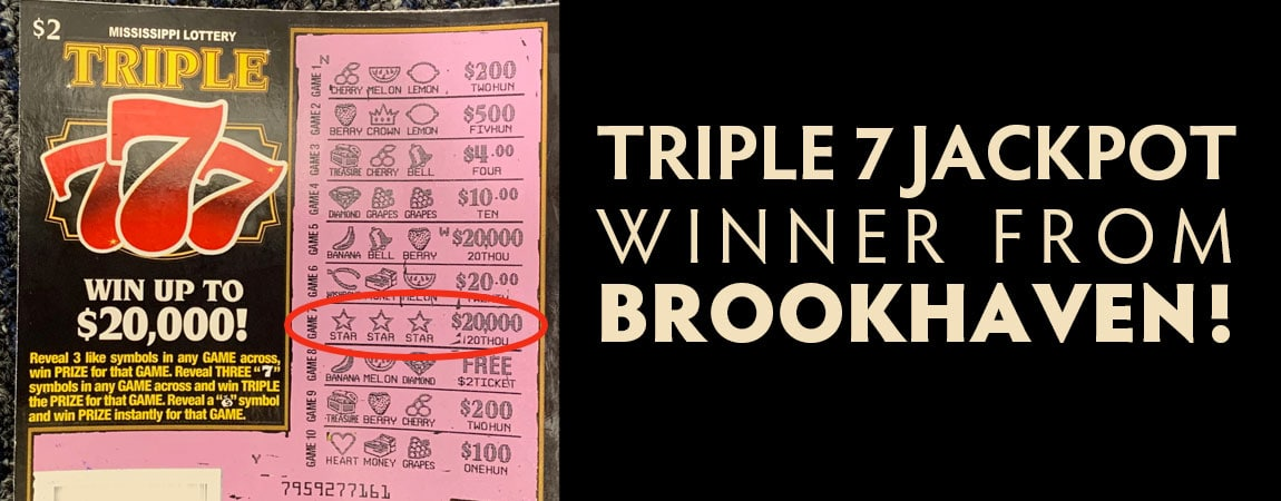 Brookhaven woman wins $20,000 jackpot on Triple 7 Scratch-off game