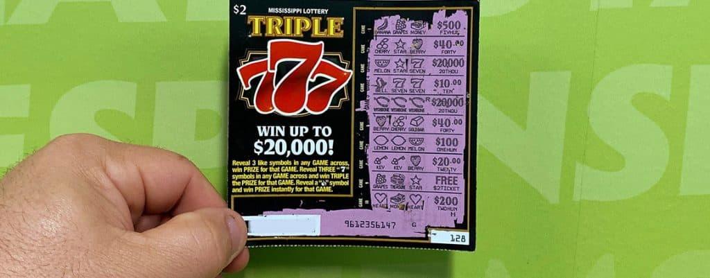 Bay Springs man wins $20,000 jackpot on Triple 777 scratch-off