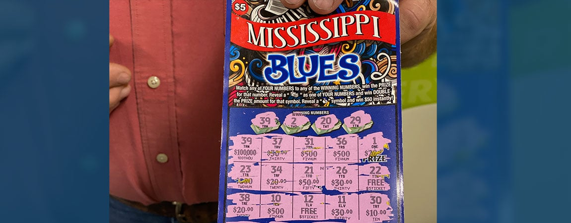 Smithville man wins $100,000 on Mississippi Blues scratch-off