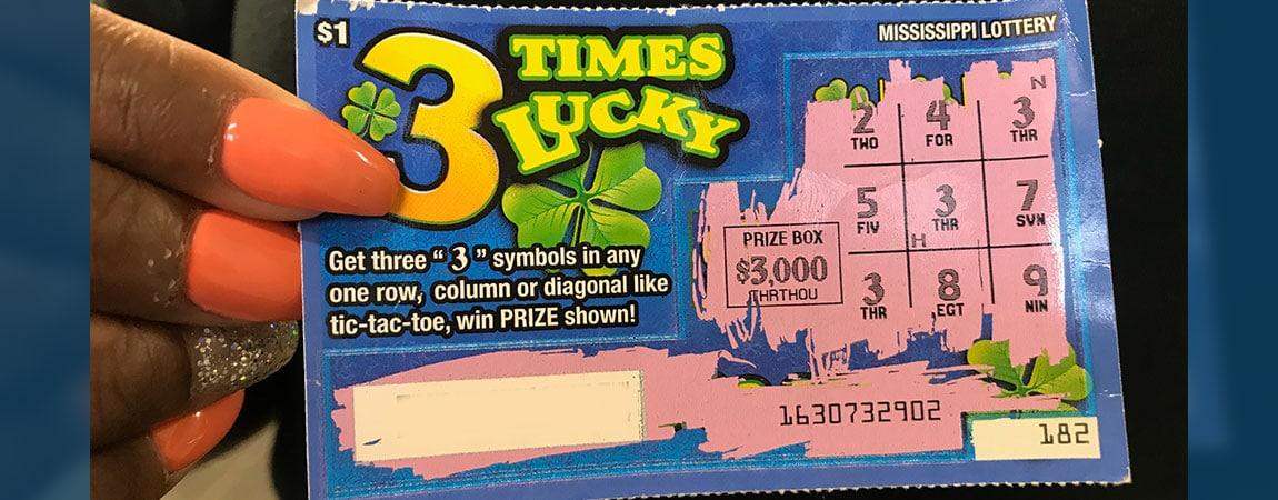 Starkville woman wins $3K on 3 Times Lucky