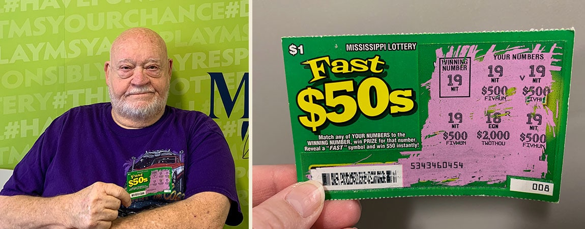 Claude P. of Hattiesburg won $2,000 on a winning Fast 50's scratch-off