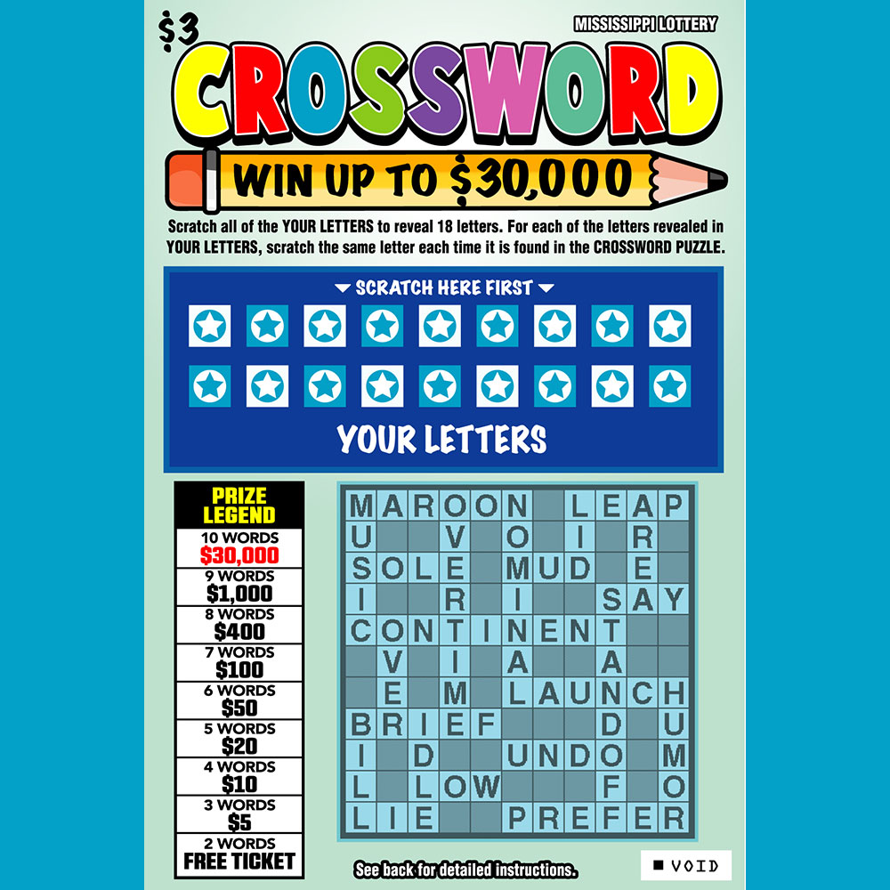 Mississippi Crossword - Instant Scratch-off game